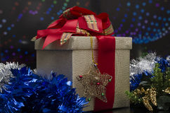 Christmas Gift Box over colored background Royalty Free Stock Image