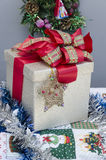 Christmas Gift Box over grey background Royalty Free Stock Photos
