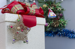 Christmas Gift Box over grey background Royalty Free Stock Photo