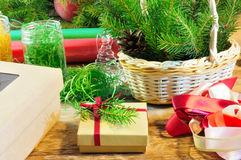 Christmas gift box and package items Royalty Free Stock Images