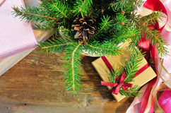 Christmas gift box and package items Stock Photos