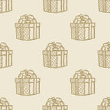 Christmas gift box pattern seamless background Stock Photo