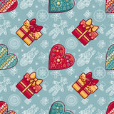 Christmas. Gift box and patterned Heart.  Seamless pattern. Royalty Free Stock Images