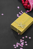Christmas gift box, pink sequins and decoration Stock Image