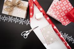 Christmas gift box preparation Stock Photography