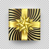 Christmas gift box present golden ribbon bow foil wrapper pattern vector isolated. Christmas gift red box New Year present in golden ribbon bow and gold foil Stock Photo