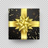 Christmas gift box present golden ribbon bow gold foil wrapping vector pattern. Christmas gift box present in golden ribbon bow and wrapping paper dotted gold Stock Photography