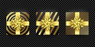 Christmas gift box present golden ribbon bow gold foil wrapping vector pattern. Christmas gift box present in golden ribbon bow and wrapping paper dotted gold Stock Images