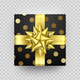 Christmas gift box present golden ribbon bow wrapping dotted vector pattern. Christmas gift box present in golden ribbon bow and wrapping paper dotted pattern Royalty Free Stock Photos