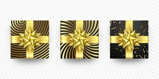 Christmas gift box present golden ribbon bow wrapping dotted vector pattern. Christmas gift box present in golden ribbon bow and wrapping paper dotted pattern Royalty Free Stock Image