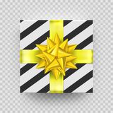 Christmas gift box or present with golden ribbon bow and wrapping paper stripe pattern.. Vector Christmas gift box isolated on transparent background for New Royalty Free Stock Photo
