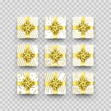 Christmas gift box or present with golden ribbon bow and wrapping paper zigzag pattern. Vector Christmas gift box isolated on tran. Sparent background for New Stock Image