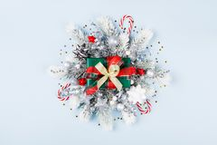 Christmas gift box or present with holiday decorations top view stock photo
