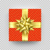 Christmas gift box present red golden ribbon bow wrapper pattern vector. Christmas gift box red present in golden ribbon bow and wrapping paper dotted pattern Royalty Free Stock Images
