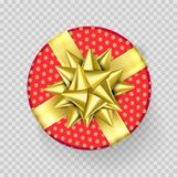 Christmas gift box present red golden ribbon bow wrapper pattern vector isolated. Christmas gift box red present in golden ribbon bow and wrapping paper dotted Royalty Free Stock Photos