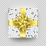 Christmas gift box present red golden ribbon bow wrapper pattern vector. Christmas gift golden box New Year present in gold ribbon bow and wrapping paper Stock Image