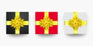 Christmas gift box present red white, black golden ribbon vector  set Stock Photo