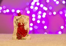 Christmas gift box presents with decoration bokeh lights stock photo