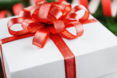 Christmas gift box with red bow Stock Photography