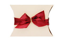 Christmas gift box with red bow and ribbon isolated on white Royalty Free Stock Photography