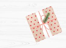 Christmas gift box with red bow on white wooden  background. Top view. Vector illustrtion Royalty Free Stock Image