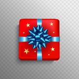 Christmas Gift box red present in blue ribbon bow. Square Christ. Mas gift box for Birthday or New Year Holiday greeting card vector  on transparent background Royalty Free Stock Photo