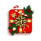 Christmas Gift box red present in gold ribbon bow with fir tree,. Candy cane, golden star and bubble. Square Christmas gift box for or New Year Holiday greeting vector illustration