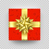 Christmas gift box red present in golden ribbon bow and wrapping paper dotted pattern. Luxury Christmas gift box for Birthday. New Year holiday greeting card Royalty Free Stock Photography
