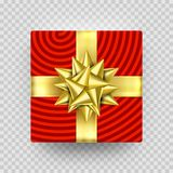 Christmas gift box red present in golden ribbon bow and wrapping paper wave pattern. Vector premium gift box isolated on transpare. Nt background for New Year Royalty Free Stock Image
