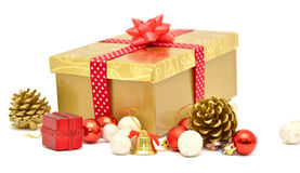Christmas gift box with red ribbon Stock Photos