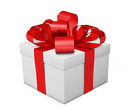 Christmas Gift Box Red Ribbon And Bow Stock Images