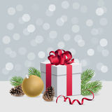Christmas gift box with red ribbon and decoration ball on silver. Christmas gift box with red ribbon and christmas decorations Stock Photography