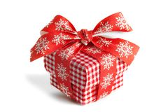 Christmas gift box with red ribbon isolated on white background royalty free stock image