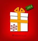 Christmas gift box with ribbon Stock Photos