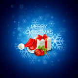 Christmas gift box and Santa hat. Vector. Illustration  EPS 10 Royalty Free Stock Photography