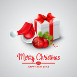 Christmas gift box and Santa hat. Vector. Illustration EPS 10 Royalty Free Stock Photo