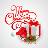 Christmas gift box and Santa hat. Vector. Illustration EPS 10 Stock Photo