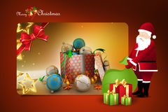Christmas  gift box with santaclaus Stock Image