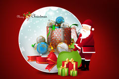 Christmas  gift box with santaclaus Stock Photos