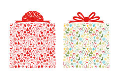 Christmas gift box shape. On white background vector illustration Stock Photography