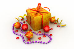 Christmas Gift Box with Shiny Balls Stock Image