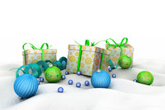 Christmas Gift Box with Shiny Balls Royalty Free Stock Image