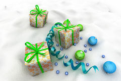 Christmas Gift Box with Shiny Balls Royalty Free Stock Photo