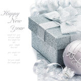 Christmas gift box in silver tone. Christmas gift box with festive decoration in silver tone Stock Photography