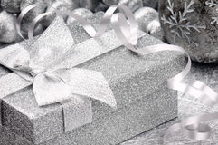 Christmas gift box in silver tone Stock Images