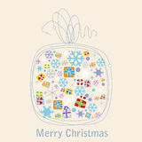 Christmas gift box with snowflake Royalty Free Stock Photo