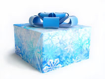 Christmas Gift Box With Snowflake Ornament Stock Photos