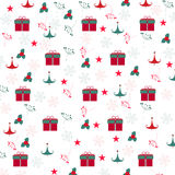 Christmas gift box, snowflake, tree pattern background Royalty Free Stock Photography