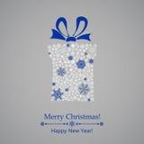 Christmas gift box of snowflakes Stock Photos