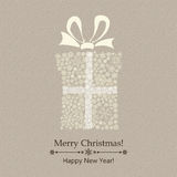 Christmas gift box of snowflakes. Christmas background with gift box made of snowflakes, with bow Royalty Free Stock Images